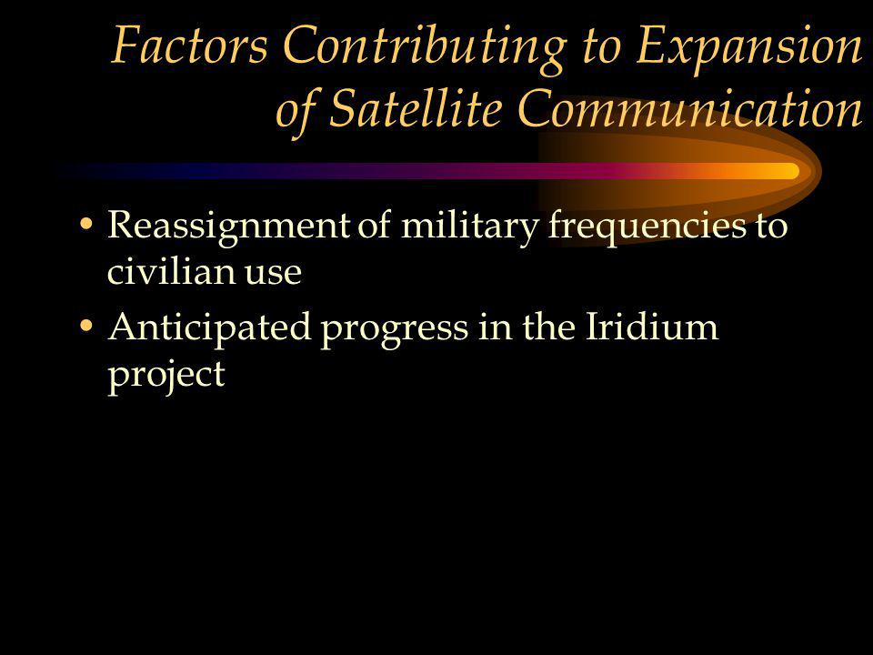 Factors Contributing to Expansion of Satellite Communication Reassignment of military frequencies to civilian use Anticipated progress in the Iridium project