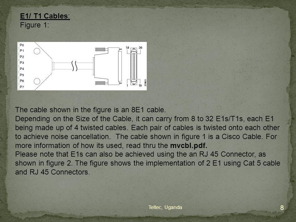 E1/ T1 Cables: Figure 1: The cable shown in the figure is an 8E1 cable. Depending on the Size of the Cable, it can carry from 8 to 32 E1s/T1s, each E1