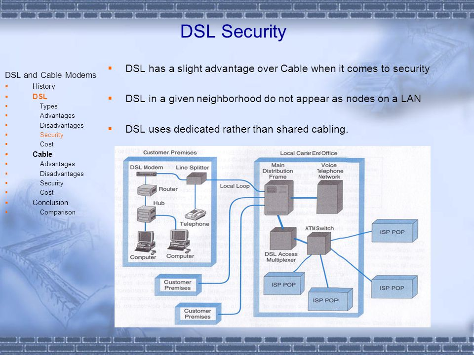 DSL Security DSL has a slight advantage over Cable when it comes to security DSL in a given neighborhood do not appear as nodes on a LAN DSL uses dedicated rather than shared cabling.