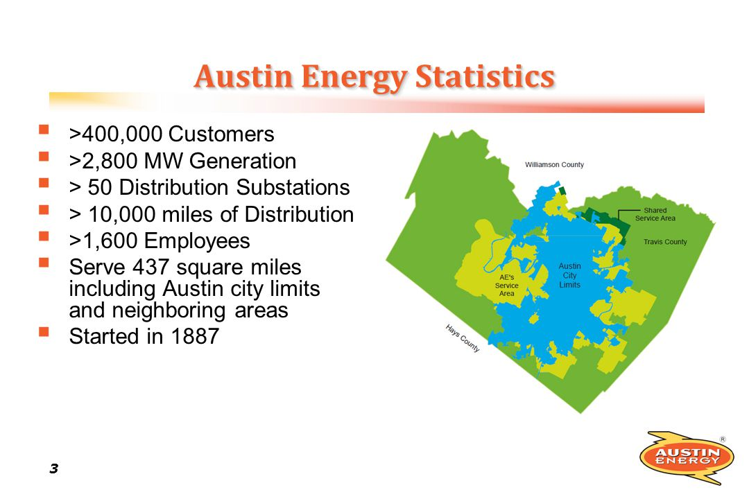 3 33 3 Austin Energy Statistics >400,000 Customers >2,800 MW Generation > 50 Distribution Substations > 10,000 miles of Distribution >1,600 Employees Serve 437 square miles including Austin city limits and neighboring areas Started in 1887