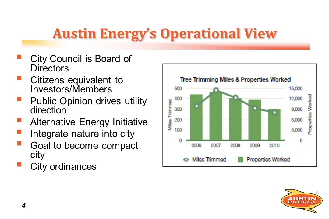 4 44 4 Austin Energys Operational View City Council is Board of Directors Citizens equivalent to Investors/Members Public Opinion drives utility direc