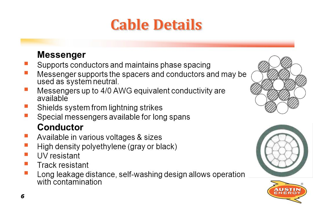 6 66 6 Cable Details Messenger Supports conductors and maintains phase spacing Messenger supports the spacers and conductors and may be used as system