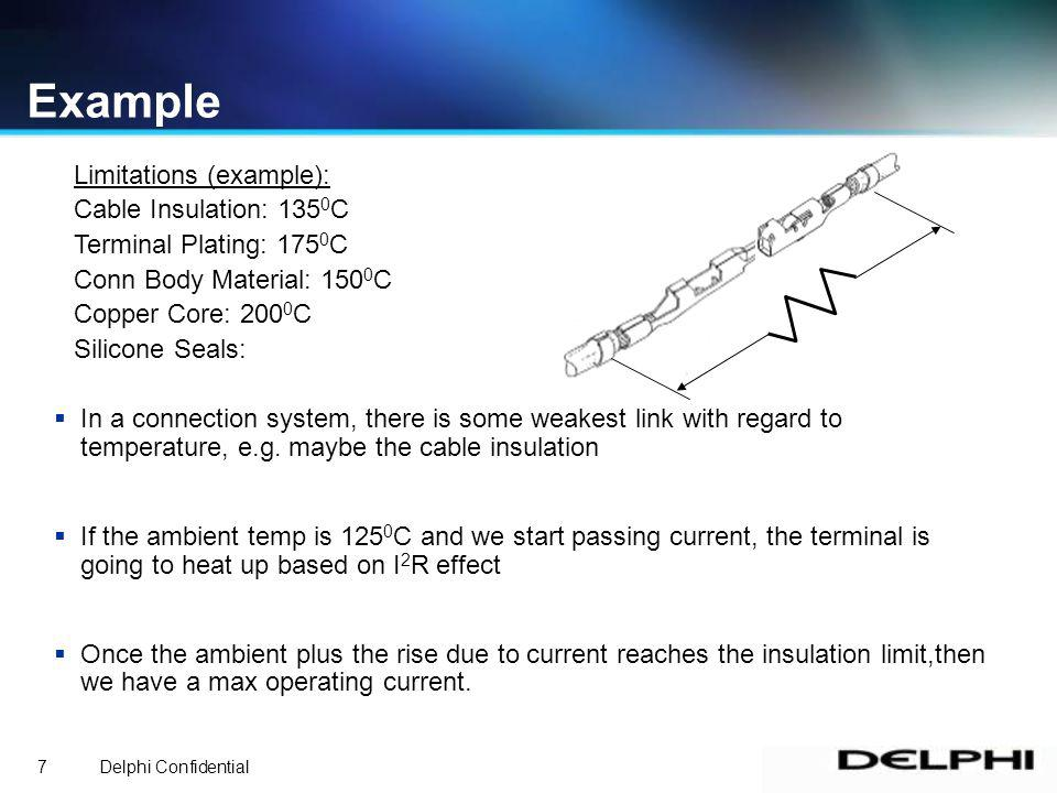 Delphi Confidential7 Example In a connection system, there is some weakest link with regard to temperature, e.g.