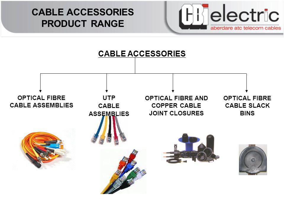 CABLE ACCESSORIES CABLE ACCESSORIES PRODUCT RANGE OPTICAL FIBRE CABLE ASSEMBLIES OPTICAL FIBRE AND COPPER CABLE JOINT CLOSURES OPTICAL FIBRE CABLE SLACK BINS UTP CABLE ASSEMBLIES