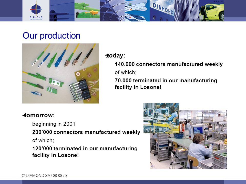 © DIAMOND SA / 08-08 / 3 tomorrow: beginning in 2001 200000 connectors manufactured weekly of which; 120000 terminated in our manufacturing facility i