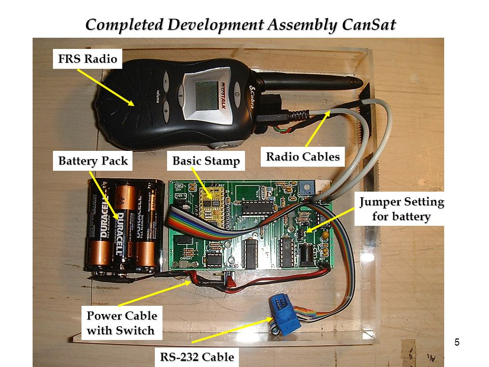 5 Completed Development Assembly CanSat FRS Radio RS-232 Cable Power Cable with Switch Battery Pack Radio Cables Basic Stamp Jumper Setting for battery