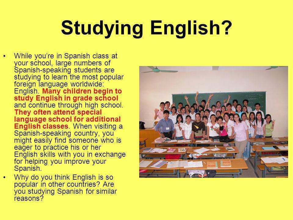 Studying English.