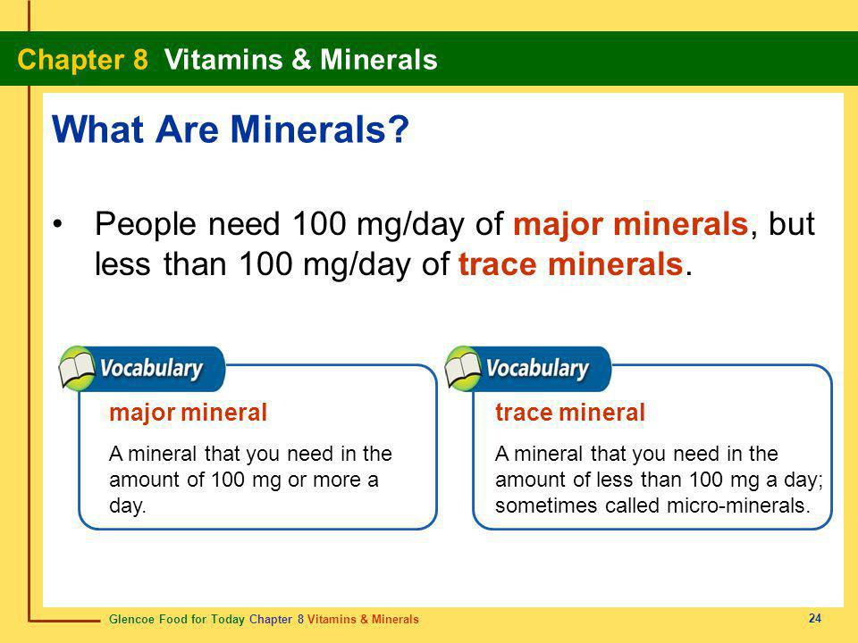 Glencoe Food for Today Chapter 8 Vitamins & Minerals Chapter 8 Vitamins & Minerals 25 ©2002 Learning Zone Express 25 Minerals Functions in the Body: The body depends on minerals for practically every process necessary for life.