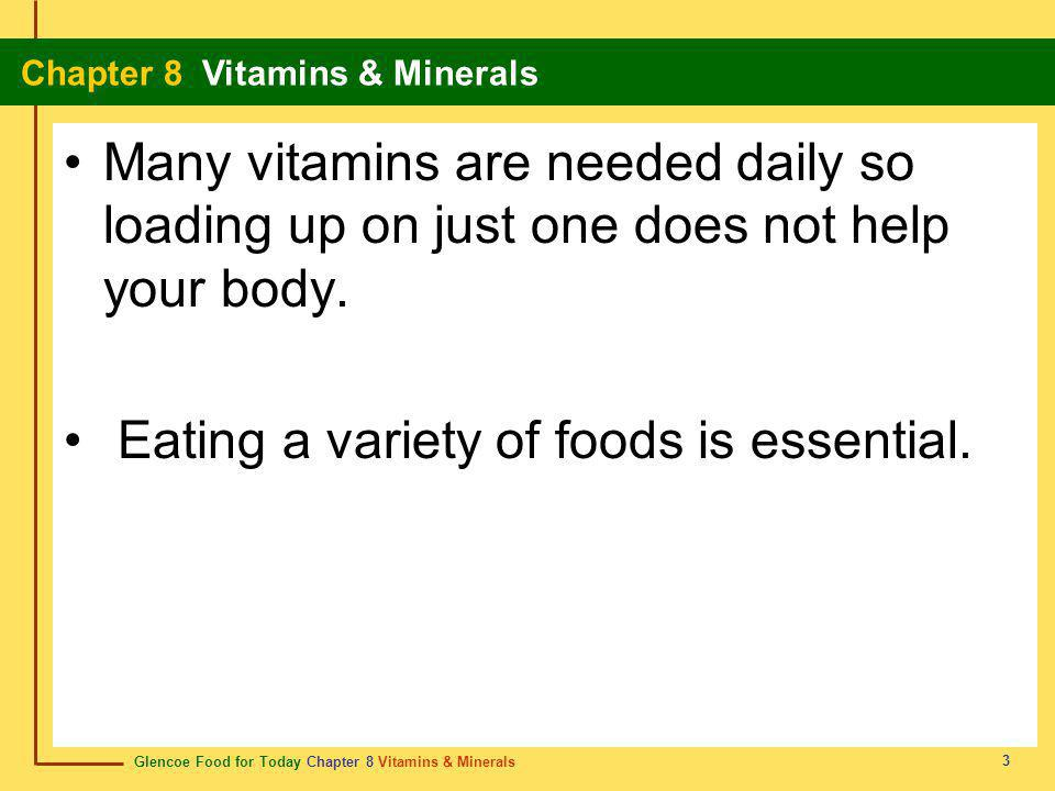 Glencoe Food for Today Chapter 8 Vitamins & Minerals Chapter 8 Vitamins & Minerals 4 What Are Vitamins.