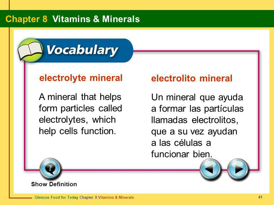 Glencoe Food for Today Chapter 8 Vitamins & Minerals Chapter 8 Vitamins & Minerals 41 electrolyte mineral electrolito mineral A mineral that helps for