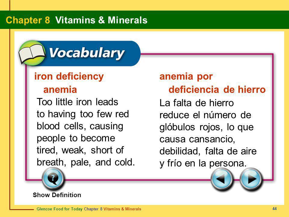 Glencoe Food for Today Chapter 8 Vitamins & Minerals Chapter 8 Vitamins & Minerals 44 iron deficiency anemia anemia por deficiencia de hierro Too litt