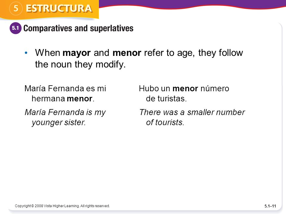 Copyright © 2008 Vista Higher Learning. All rights reserved. 5.1–11 When mayor and menor refer to age, they follow the noun they modify. María Fernand