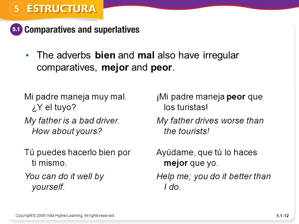 Copyright © 2008 Vista Higher Learning. All rights reserved. 5.1–12 The adverbs bien and mal also have irregular comparatives, mejor and peor. Mi padr