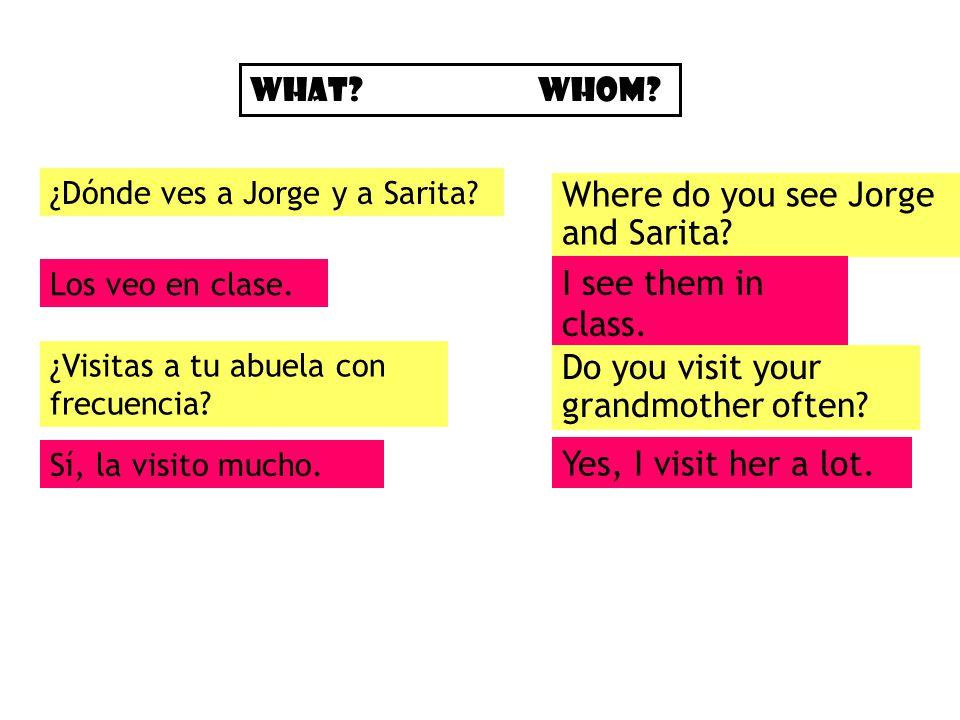 ¿Dónde ves a Jorge y a Sarita.Where do you see Jorge and Sarita.