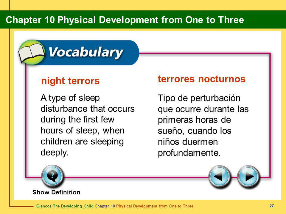 Glencoe The Developing Child Chapter 10 Physical Development from One to Three Chapter 10 Physical Development from One to Three 27 night terrors terrores nocturnos A type of sleep disturbance that occurs during the first few hours of sleep, when children are sleeping deeply.
