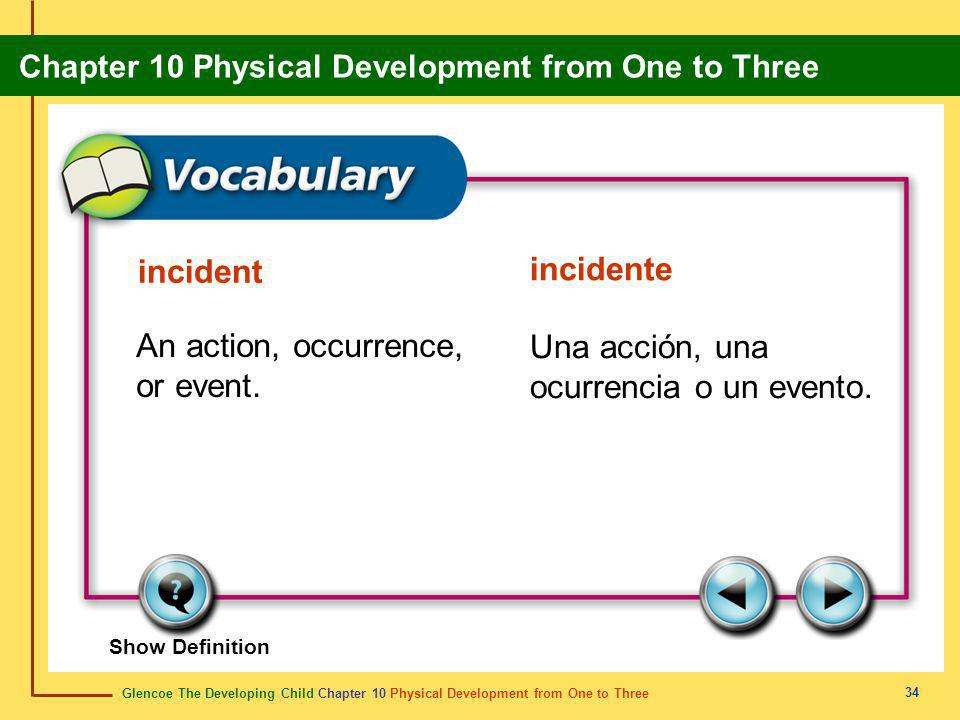 Glencoe The Developing Child Chapter 10 Physical Development from One to Three Chapter 10 Physical Development from One to Three 34 incident incidente An action, occurrence, or event.