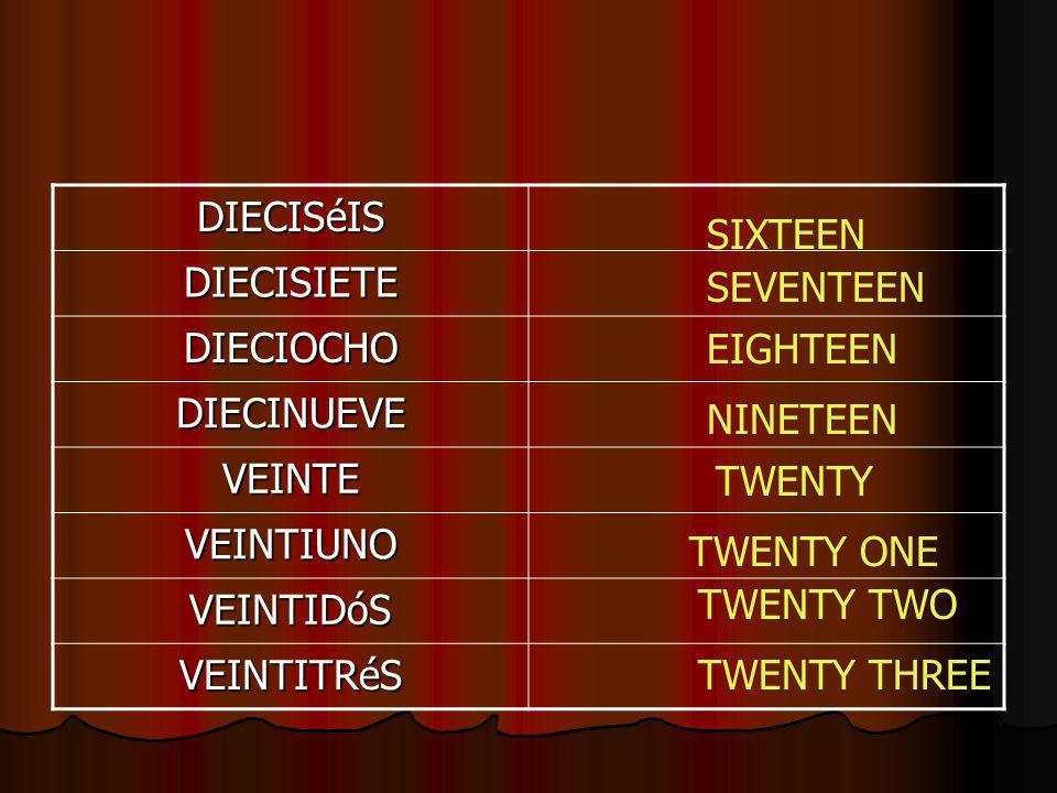 DIECISéIS DIECISIETE DIECIOCHO DIECINUEVE VEINTE VEINTIUNO VEINTIDóS VEINTITRéS SIXTEEN SEVENTEEN EIGHTEEN NINETEEN TWENTY TWENTY ONE TWENTY TWO TWENTY THREE