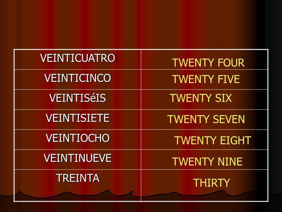 VEINTICUATRO VEINTICINCO VEINTISéIS VEINTISIETE VEINTIOCHO VEINTINUEVE TREINTA TWENTY FOUR TWENTY FIVE TWENTY SIX TWENTY SEVEN TWENTY EIGHT TWENTY NINE THIRTY
