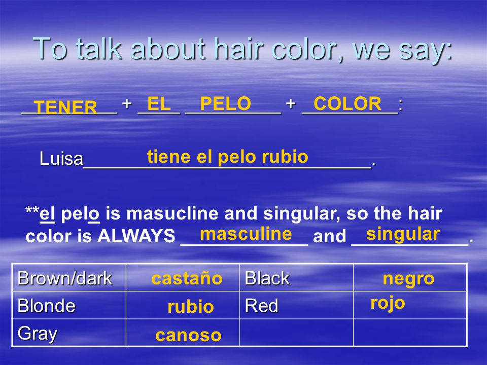 To talk about hair color, we say: _________ + ____ _________ + _________: Luisa___________________________.