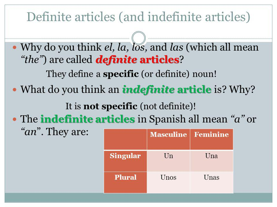 Definite articles (and indefinite articles) definite articles Why do you think el, la, los, and las (which all mean the) are called definite articles?