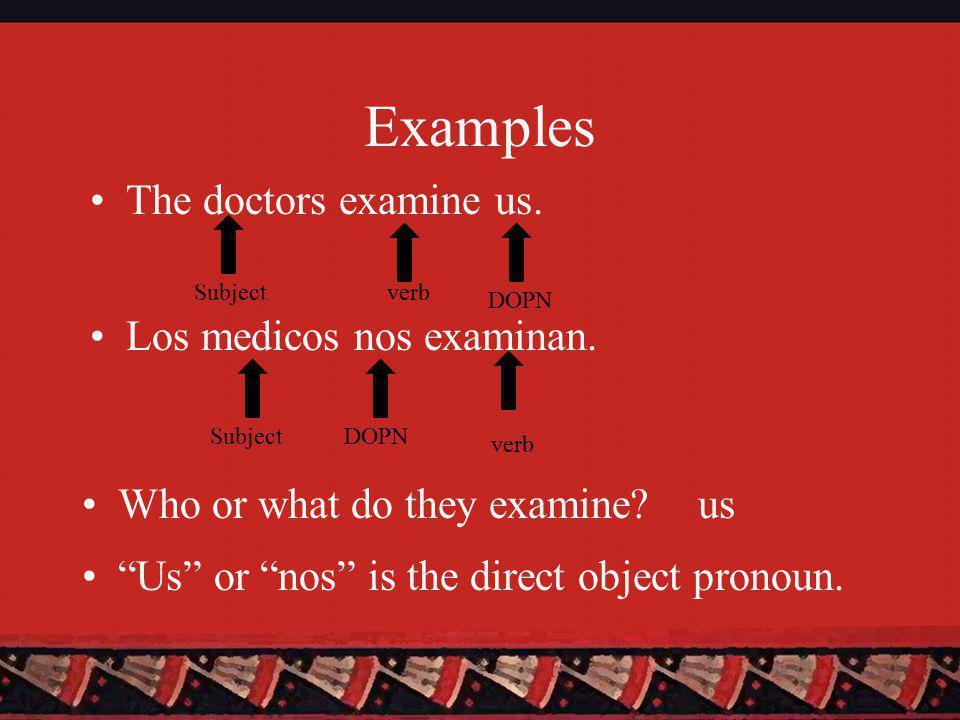 Examples Los medicos nos examinan. The doctors examine us.
