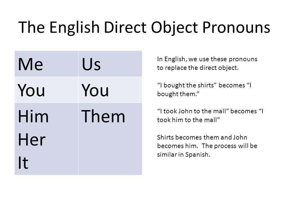 The English Direct Object Pronouns MeUs You Him Her It Them In English, we use these pronouns to replace the direct object.