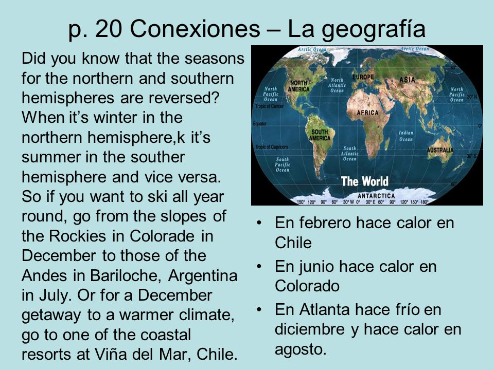 p. 20 Conexiones – La geografía Did you know that the seasons for the northern and southern hemispheres are reversed? When its winter in the northern