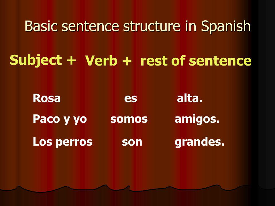 Basic sentence structure in Spanish Subject + Verb +rest of sentence Rosaesalta.