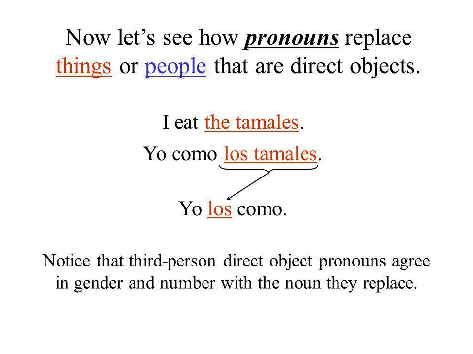 I eat the tamales. Yo como los tamales. Yo los como.