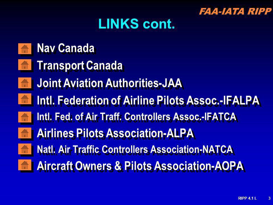 FAA-IATA RIPP RIPP 4.1 L3 LINKS cont. Nav Canada Transport Canada Joint Aviation Authorities-JAA Intl. Federation of Airline Pilots Assoc.-IFALPA Intl