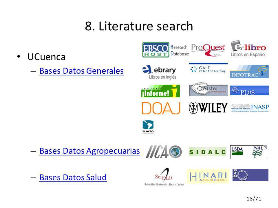 UCuenca – Bases Datos Generales Bases Datos Generales – Bases Datos Agropecuarias Bases Datos Agropecuarias – Bases Datos Salud Bases Datos Salud 8. L