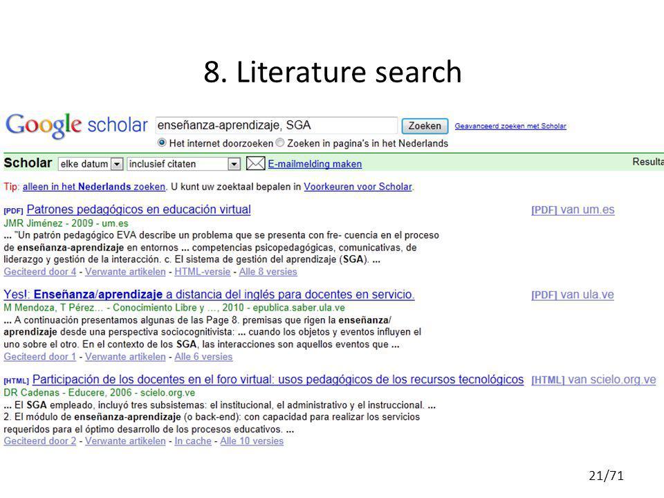 8. Literature search 21/71