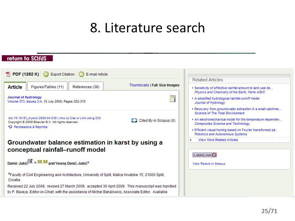 8. Literature search 25/71
