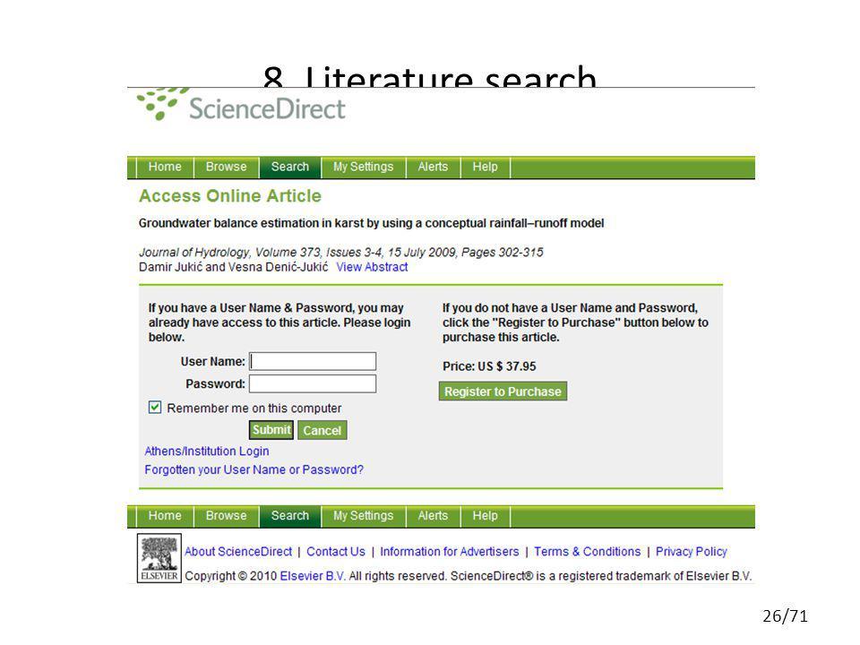 8. Literature search 26/71