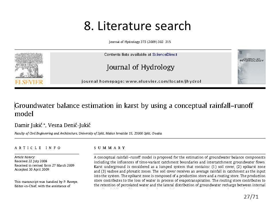 8. Literature search 27/71