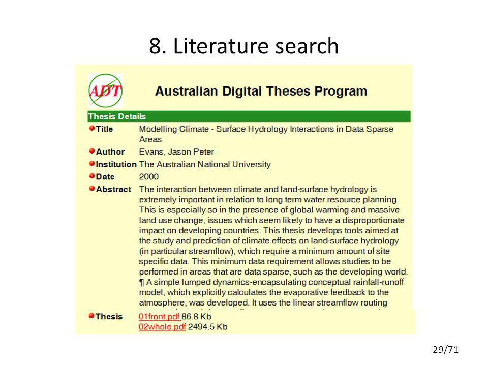 8. Literature search 29/71