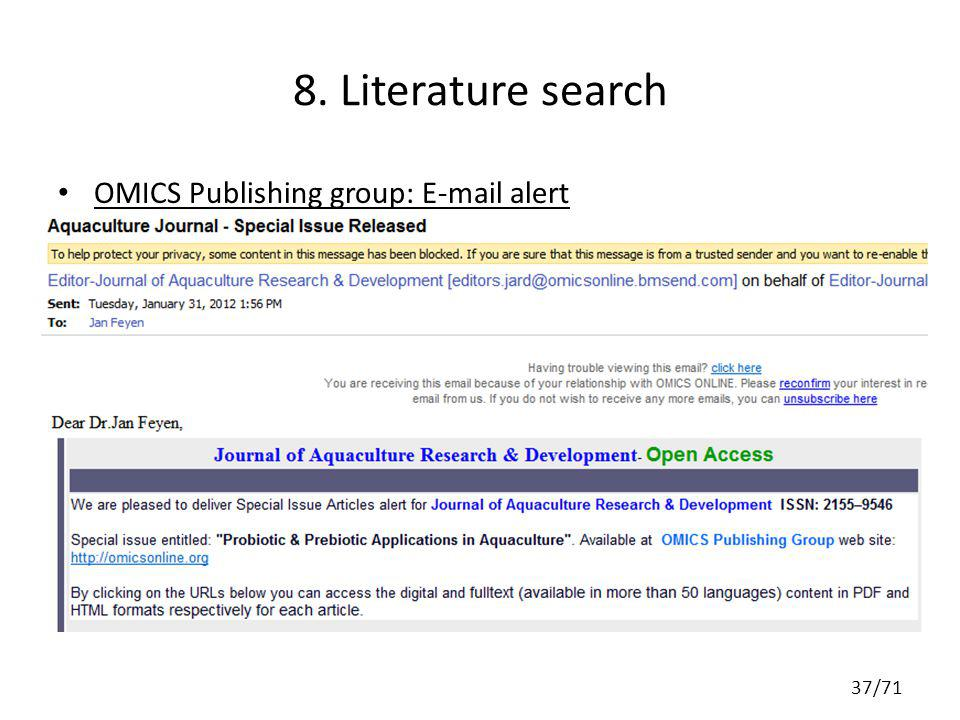 8. Literature search OMICS Publishing group: E-mail alert 37/71