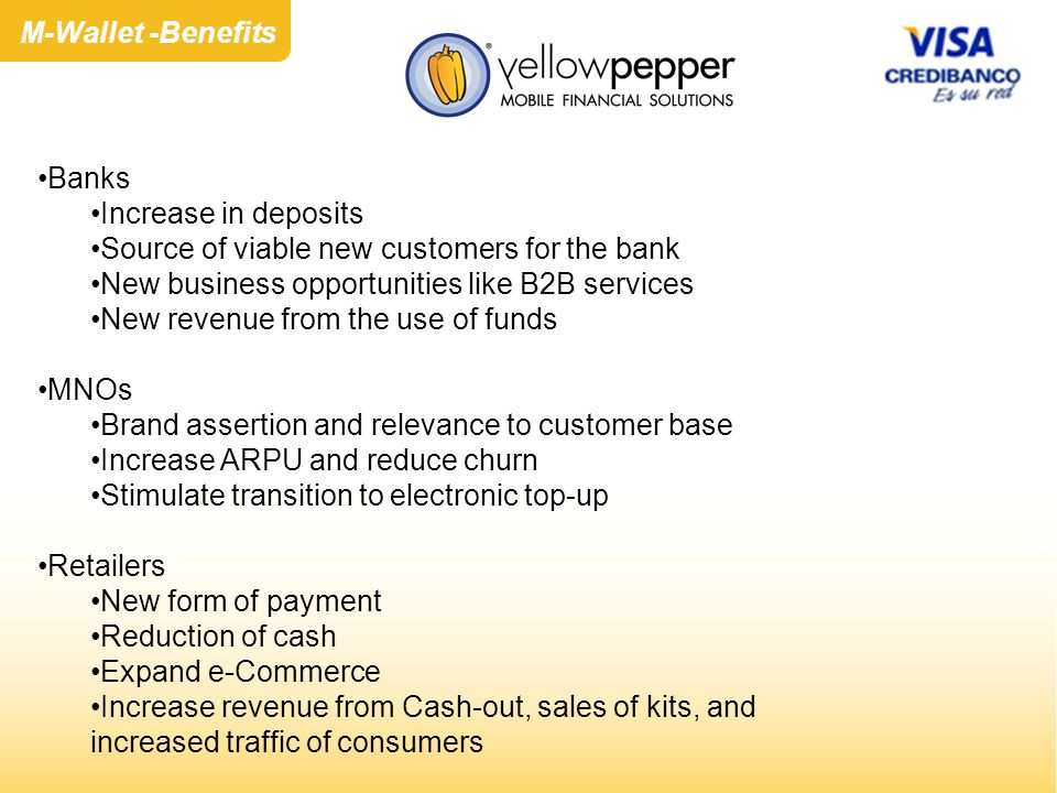 Banks Increase in deposits Source of viable new customers for the bank New business opportunities like B2B services New revenue from the use of funds MNOs Brand assertion and relevance to customer base Increase ARPU and reduce churn Stimulate transition to electronic top-up Retailers New form of payment Reduction of cash Expand e-Commerce Increase revenue from Cash-out, sales of kits, and increased traffic of consumers M-Wallet -Benefits
