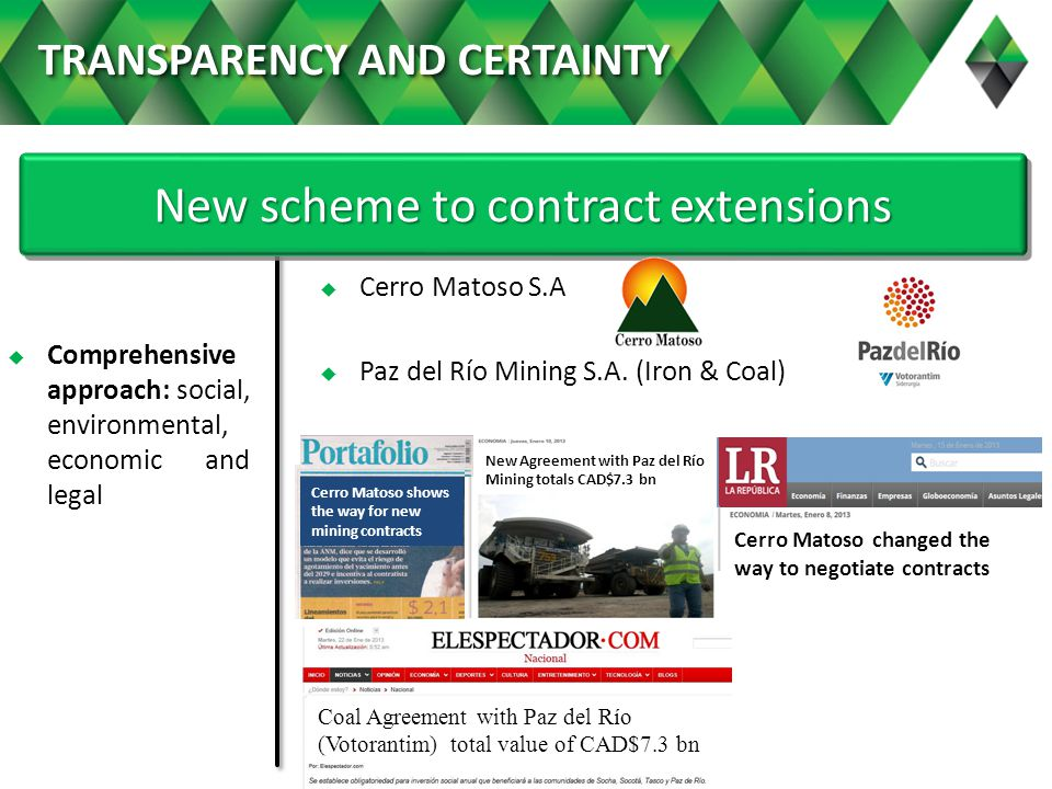 Comprehensive approach: social, environmental, economic and legal New scheme to contract extensions Cerro Matoso S.A Paz del Río Mining S.A.