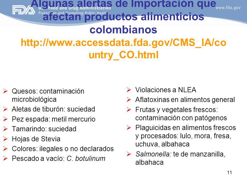 11 Algunas alertas de Importación que afectan productos alimenticios colombianos http://www.accessdata.fda.gov/CMS_IA/co untry_CO.html Quesos: contaminación microbiológica Aletas de tiburón: suciedad Pez espada: metil mercurio Tamarindo: suciedad Hojas de Stevia Colores: ilegales o no declarados Pescado a vacío: C.