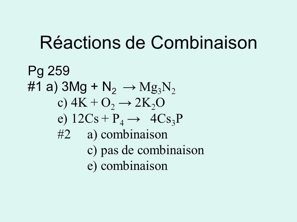 Réactions de Combinaison Pg 259 #1 a) 3Mg + N 2 Mg 3 N 2 c) 4K + O 2 2K 2 O e) 12Cs + P 4 4Cs 3 P #2a) combinaison c) pas de combinaison e) combinaison