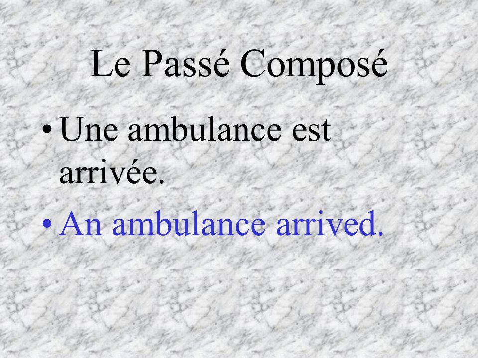 Le Passé Composé Une ambulance est arrivée. An ambulance arrived.