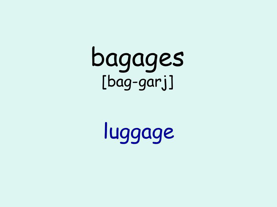 bagages [bag-garj] luggage