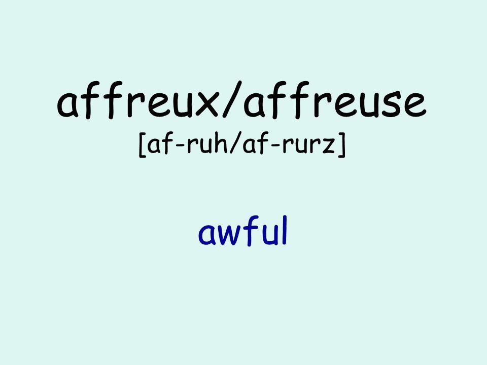 affreux/affreuse [af-ruh/af-rurz] awful