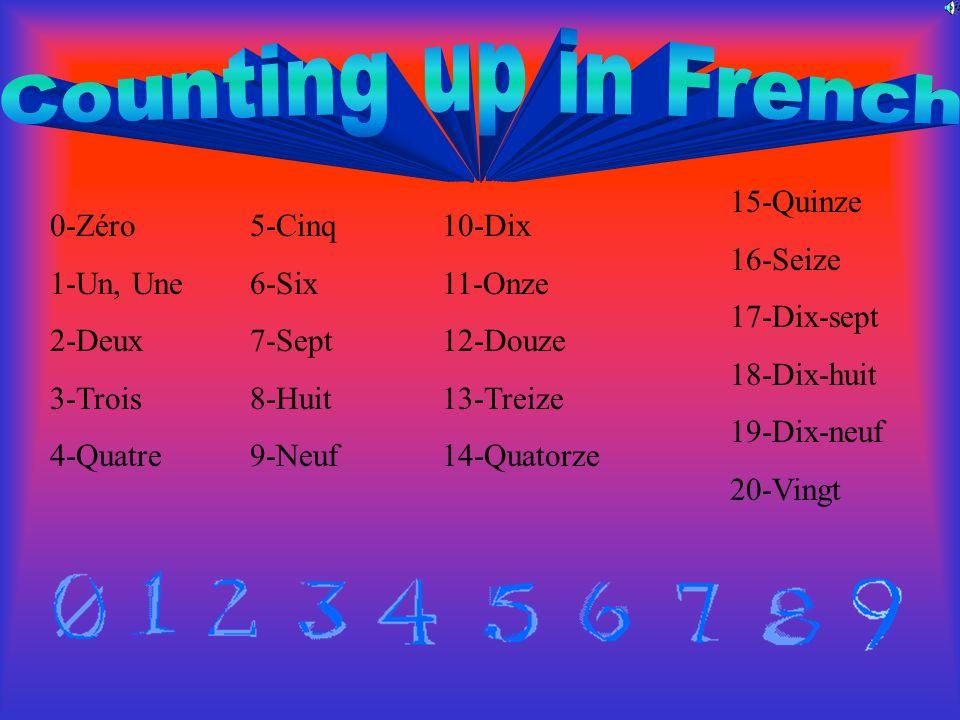 0-Zéro 1-Un, Une 2-Deux 3-Trois 4-Quatre 10-Dix 11-Onze 12-Douze 13-Treize 14-Quatorze 5-Cinq 6-Six 7-Sept 8-Huit 9-Neuf 15-Quinze 16-Seize 17-Dix-sept 18-Dix-huit 19-Dix-neuf 20-Vingt