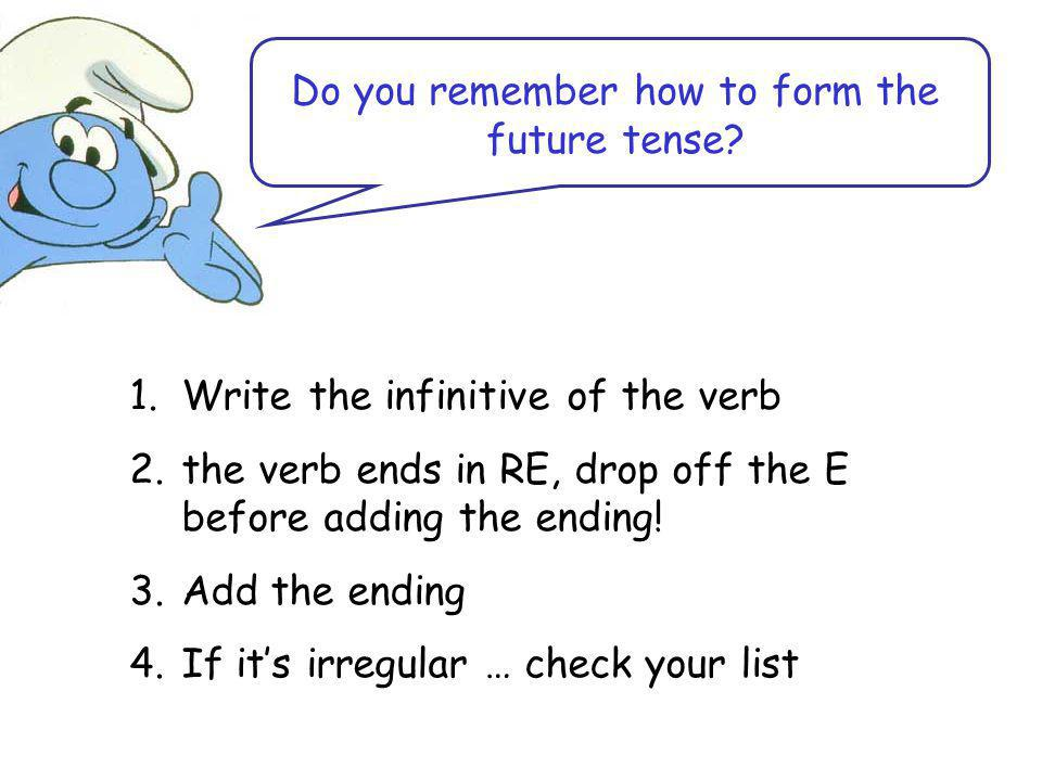 Do you remember how to form the future tense.