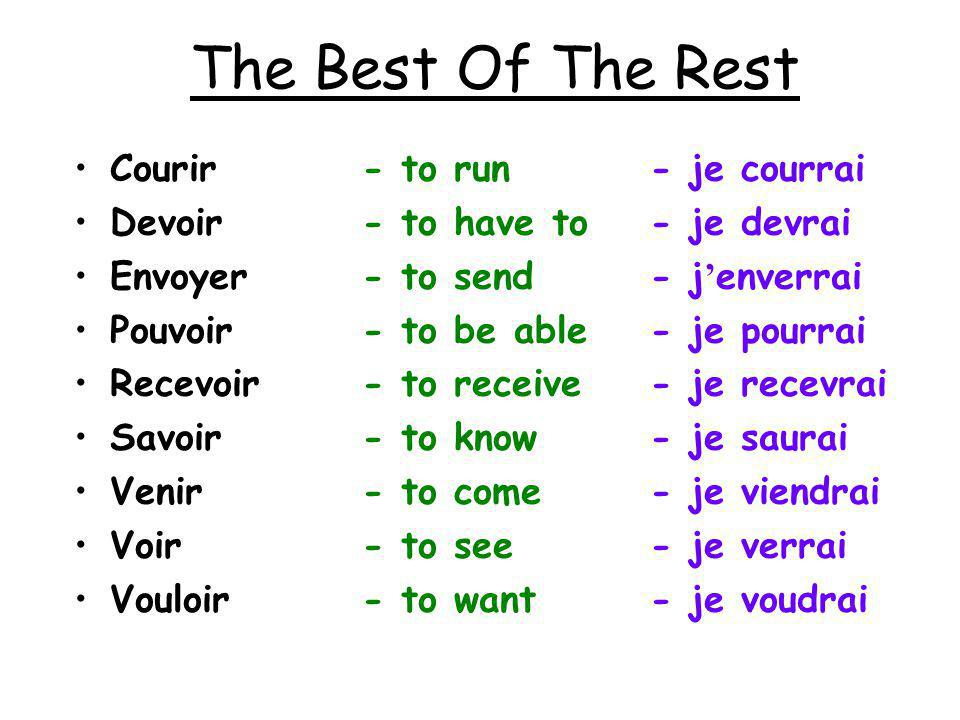 The Best Of The Rest Courir - to run - je courrai Devoir - to have to - je devrai Envoyer - to send - j enverrai Pouvoir - to be able - je pourrai Recevoir - to receive - je recevrai Savoir - to know - je saurai Venir - to come - je viendrai Voir - to see - je verrai Vouloir - to want - je voudrai