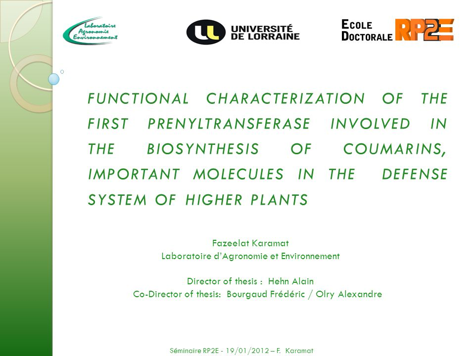 FUNCTIONAL CHARACTERIZATION OF THE FIRST PRENYLTRANSFERASE INVOLVED IN THE BIOSYNTHESIS OF COUMARINS, IMPORTANT MOLECULES IN THE DEFENSE SYSTEM OF HIG