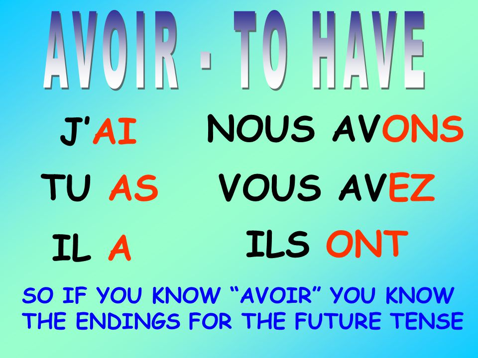 JAI TU AS IL A NOUS AVONS VOUS AVEZ ILS ONT SO IF YOU KNOW AVOIR YOU KNOW THE ENDINGS FOR THE FUTURE TENSE
