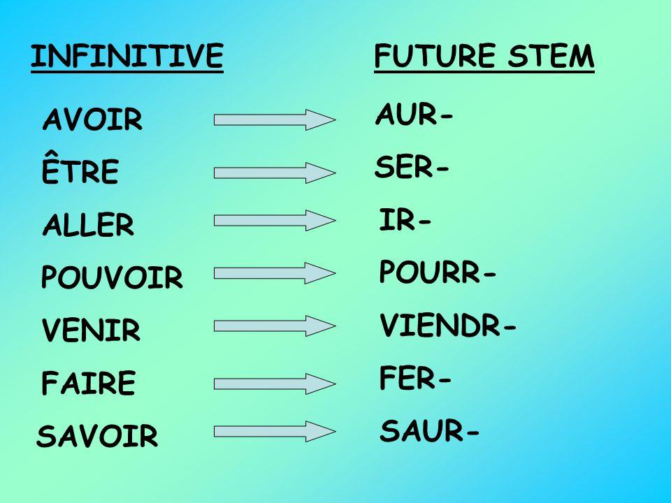 INFINITIVEFUTURE STEM AVOIR AUR- ÊTRE SER- ALLER IR- POUVOIR POURR- VENIR VIENDR- FAIRE FER- SAVOIR SAUR-